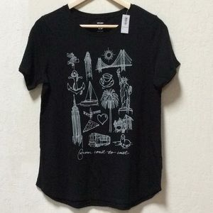 Old Navy SF Graphic Black T Shirt, Brand New